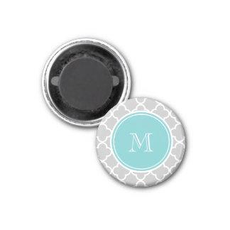 Gray Quatrefoil Pattern, Teal Monogram 3 Cm Round Magnet