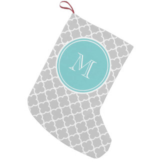 Gray Quatrefoil Pattern, Teal Monogram Small Christmas Stocking