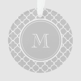 Gray Quatrefoil Pattern, Your Monogram