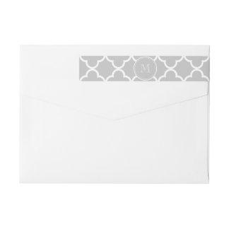 Gray Quatrefoil Pattern, Your Monogram Wraparound Return Address Label