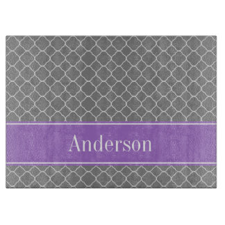 Gray Quatrefoil Purple Personalized Cutting Board