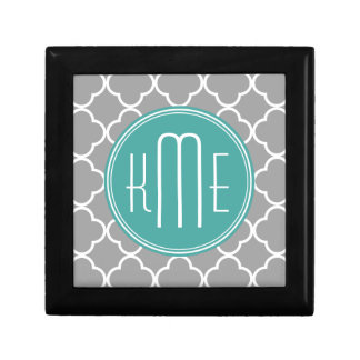 Gray Quatrefoil with Custom Mint Monogram Small Square Gift Box