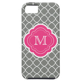 Gray Quatrefoil with Pink Monogram Case For The iPhone 5