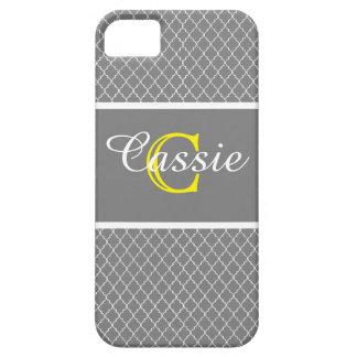Gray Quatrefoil Yellow &White Monogrammed iPhone 5 Case