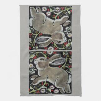 Gray Rabbit Christmas Kitchen Towel Green Red