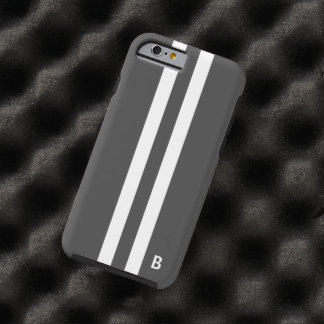 Gray Racing Stripe Tough iphone 6 case for men