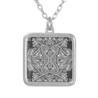Gray, Raven of mirrors, dreams, bohemian Silver Plated Necklace