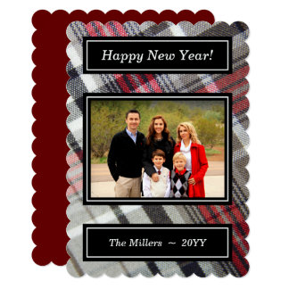 Gray Red Checkered Fabric - Happy New Year Photo Card