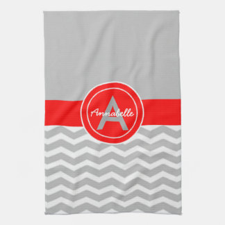 Gray Red Chevron Tea Towel