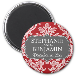 Gray & Red Damask Pattern Wedding Favor 6 Cm Round Magnet
