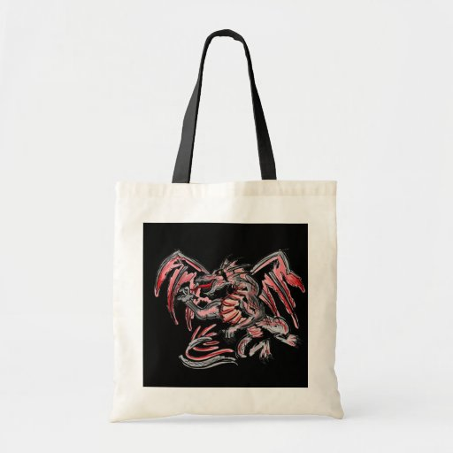 Gray red dragon reusable bag
