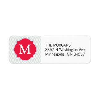 Gray & Red Modern Chevron Custom Monogram Return Address Label
