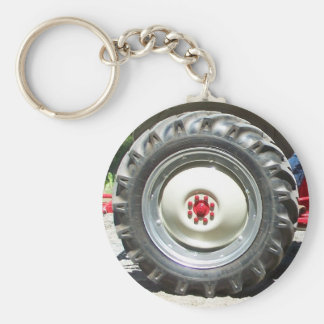 gray red tractor wheel key ring