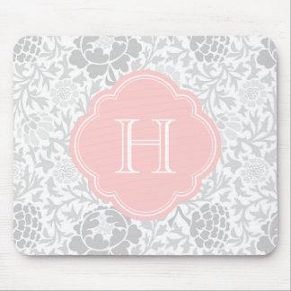 Gray Retro Floral Damask Custom Monogram Mouse Pad