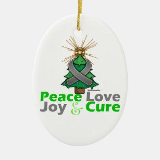 Gray Ribbon Christmas Peace Love, Joy & Cure Christmas Ornaments