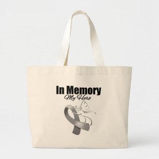 Gray Ribbon In Memory of My Hero Bags