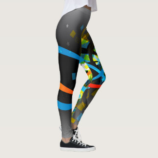 Gray Ribbon Splatter Leggins Gray Blue Leggings