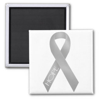 Gray Ribbon Square Magnet