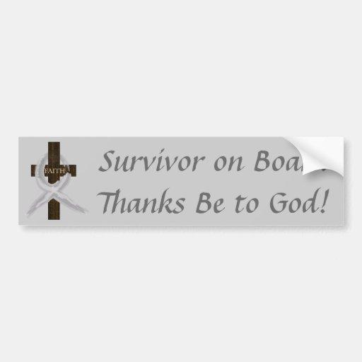 Gray Ribbon Survivor on Board bumper sticker Bumper Sticker