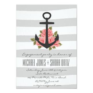 Gray Romantic Nautical Engagement Party Invitation