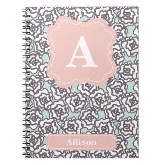 Gray Roses and Pink Monogram Notebook