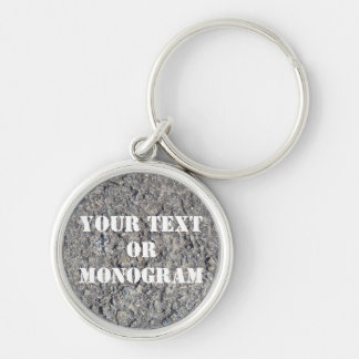 Gray Rough Concrete Texture 060 Silver-Colored Round Key Ring