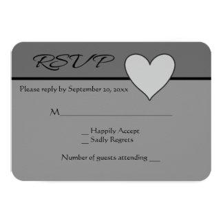 Gray RSVP Love Heart Grey & Black Wedding Card