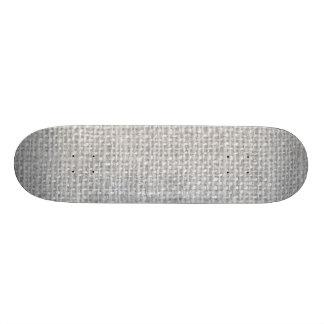 Gray Rustic Burlap Texture Skateboard Deck