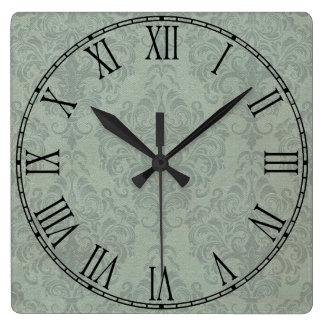 Gray Rustic Damask Vintage Wallpaper Square Wall Clock