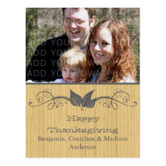 Gray Rustic Leaves Thanksgiving Photo Postcard