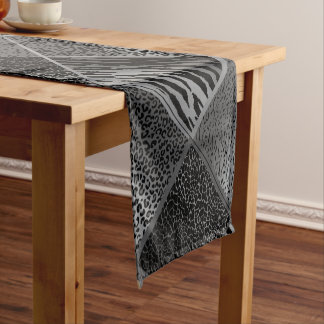 Gray Safari Animal Geometric Patterns Short Table Runner