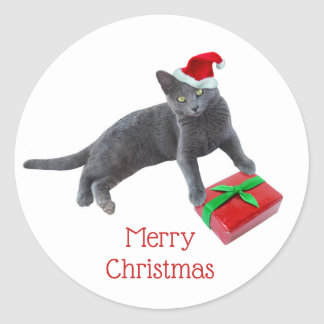 Gray Santa Cat Stickers