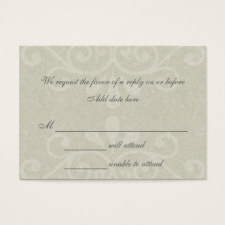Gray Scroll Wedding Response Card