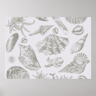 Gray Seashell Art Print Pattern Beachy