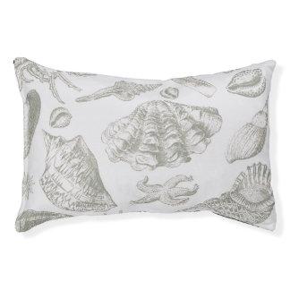 Gray Seashell Art Print Pattern Beachy Pet Bed