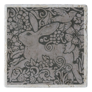 Gray Shades Rabbit Bird Travertine Tile Trivet