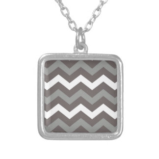 Gray Shades With White Zigzags Square Pendant Necklace