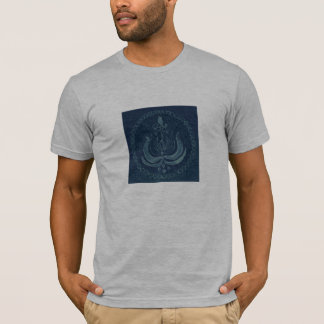 Gray shirtsleeved t-shirt with design on front