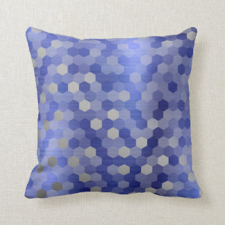 Gray Silver Cobalt Sapphire Blue Hexagon Geometry Cushion