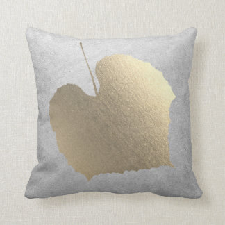 Gray Silver Cottage Foxier Blush Golden Leaf Throw Pillow
