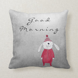 Gray Silver Cottage Sweet White Rabbit Candy Cushion