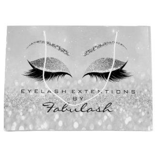 Gray Silver Eyes Lashes Makeup Glitter Branding Large Gift Bag