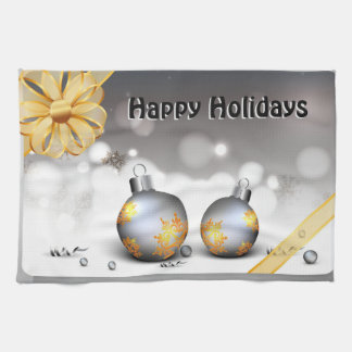 Gray Silver Gold Holiday Baubles Tea Towel