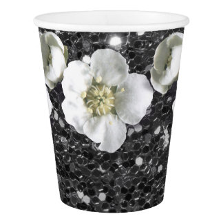 Gray Silver Graphite Glitter  Flower Jasmin Sequin Paper Cup