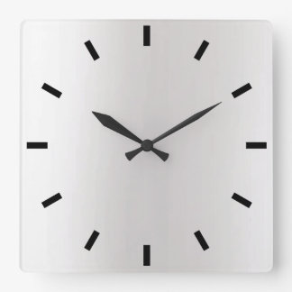 Gray Silver Graphite Ombre Minimal Black Square Wall Clock
