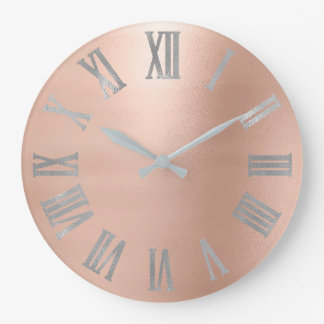 Gray Silver Pink Rose Gold Metallic Roman Numer Large Clock
