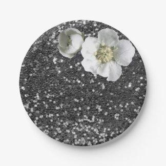 Gray Silver Sequin Floral White Jasmine Glitter Paper Plate