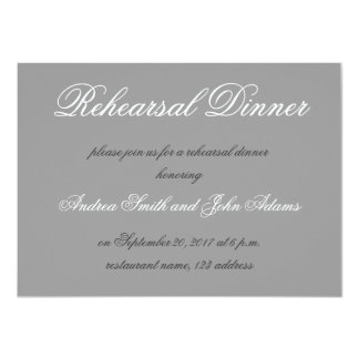 Gray Simple Script Rehearsal Dinner Invitation