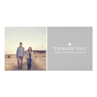 Gray Simply Chic Photo Wedding Thank You Cards Customised Photo Card