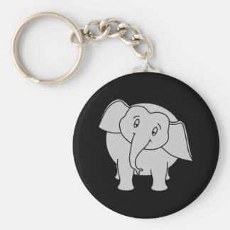 Gray Sleepy Elephant. Cartoon. Basic Round Button Key Ring